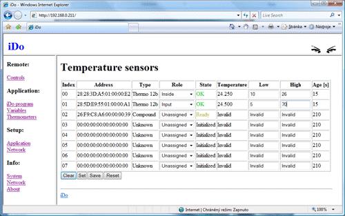 Výpis teplotních čidel iDo